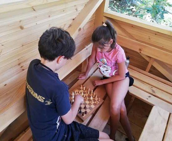 Игра на шах по време на лагер