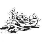 Рафтинг лодка с гребци - рисунка